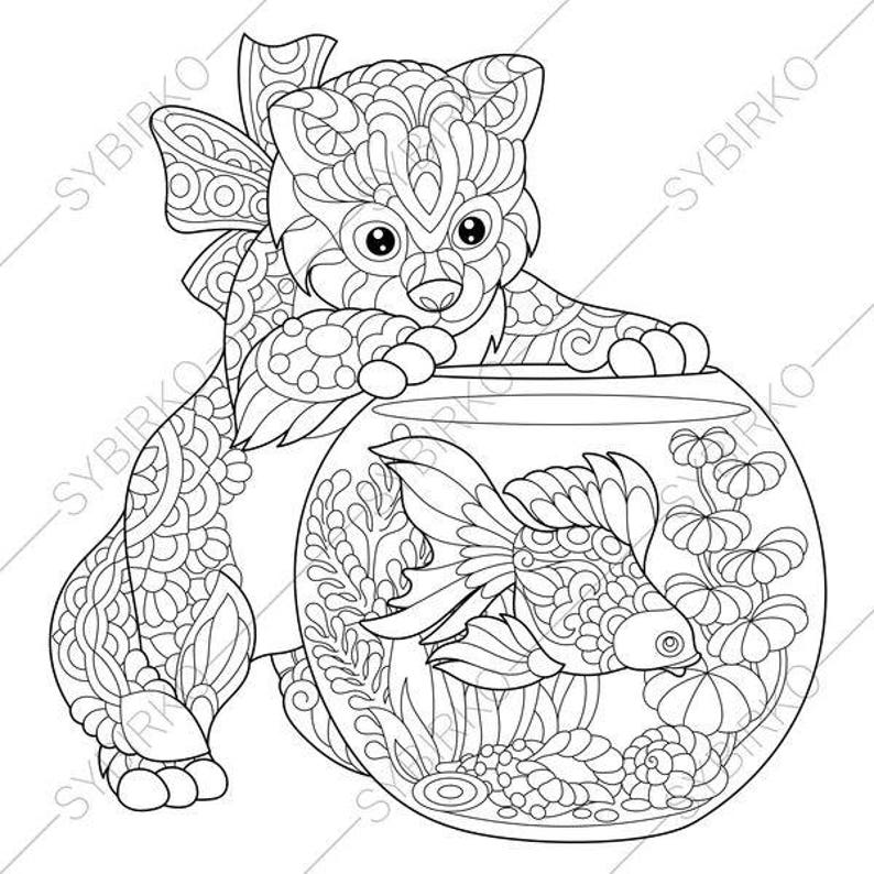 Kitten Gold Fish Clown Fish 2 Coloring Pages For Cat Day