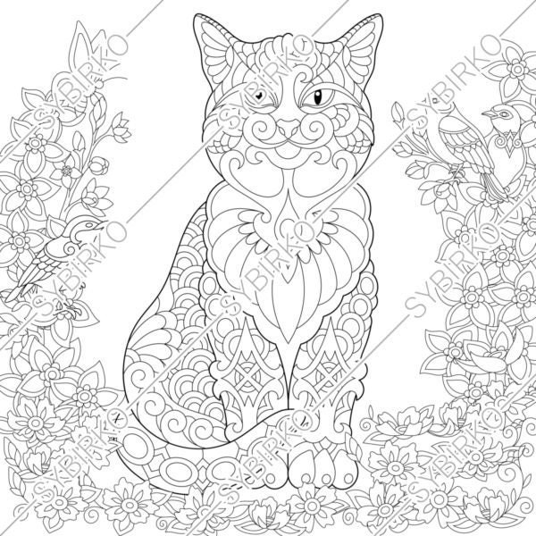 Coloring Pages Cat And Birds In Garden Animal Coloring Book