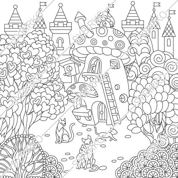 coloring pages for adults fairy tale town fairytale castle etsy. Black Bedroom Furniture Sets. Home Design Ideas