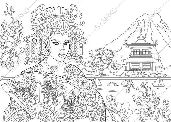 Coloring Pages for adults Japanese Geisha Oriental