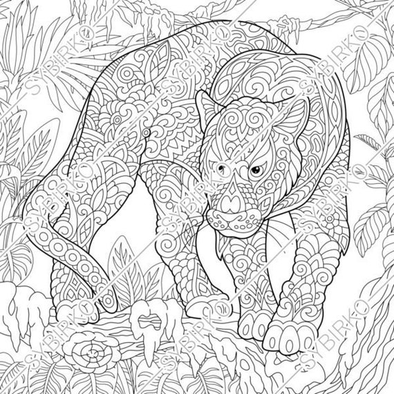 Coloring Pages Black Panther Puma Animal Coloring Book For Etsy