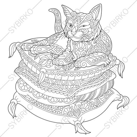 Lazy Cat. Kitten. Coloring Page for National Pet day greeting cards. Animal  coloring book pages for Adults. Instant Download Print