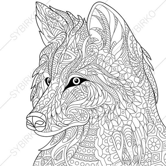 Wolf. Coloring Page. Animal coloring book pages for Adults. Instant Download Print