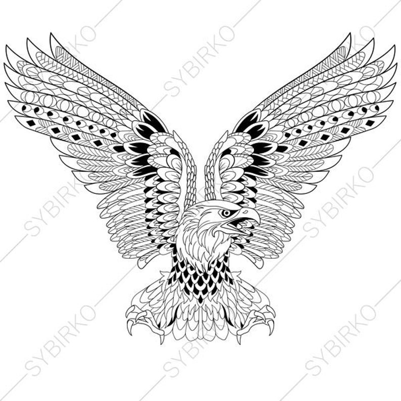 Eagle Independence Day Symbol Coloring Pages For 4th Of July Etsy