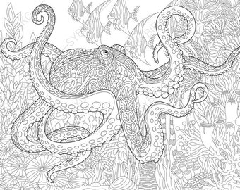 Ocean World. Octopus. 3 Coloring Pages. Animal coloring book pages for Adults. Instant Download Print