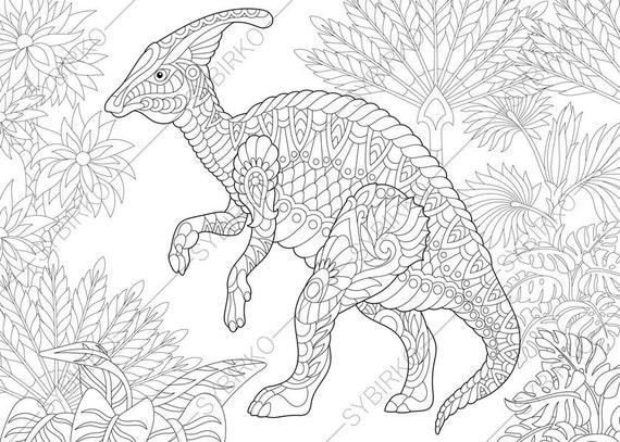 Hadrosaur Dinosaur. Dino Coloring Pages. Animal coloring book | Etsy