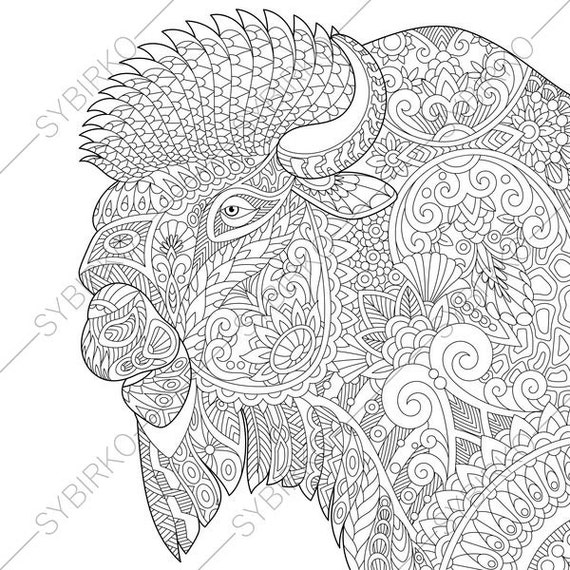 American Bison. Buffalo. Coloring Pages. Animal coloring ...