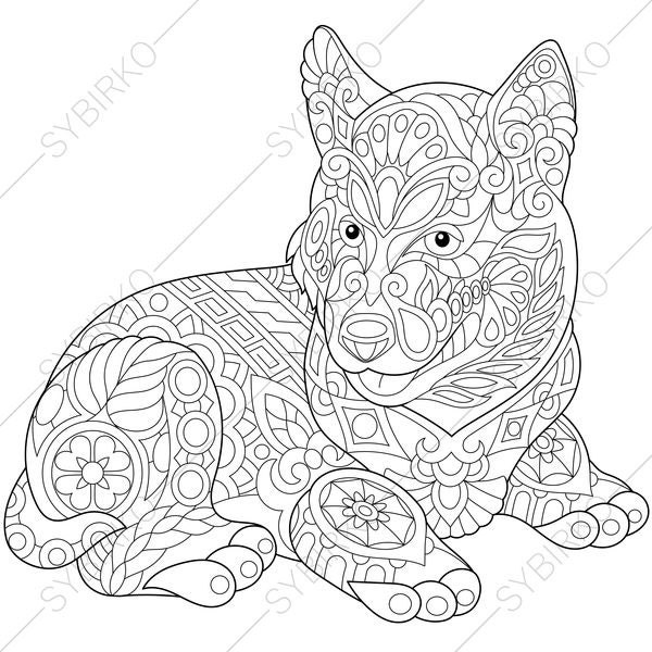 Siberian Husky Dog Coloring Page For National Pet Day Etsy