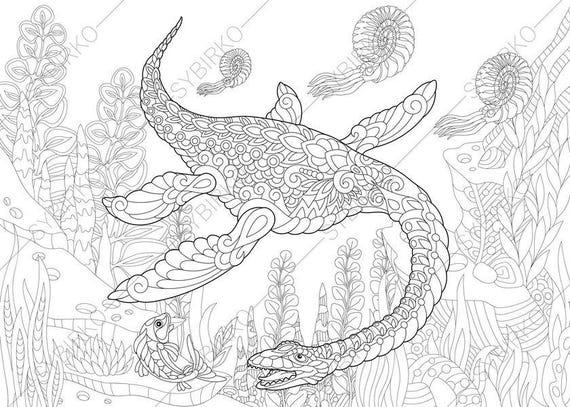 Plesiosaurus Dinosaur. Dino Coloring Pages. Animal Coloring Etsy