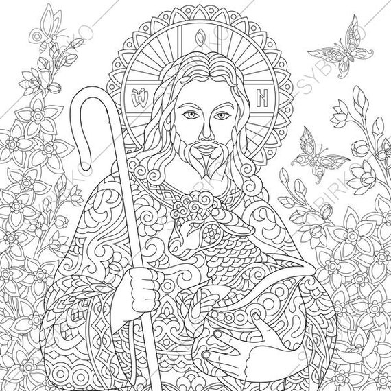 Jesus Christ with a Lamb. 2 Easter Coloring Pages. Religious coloring book pages for adults. Instant Download Print