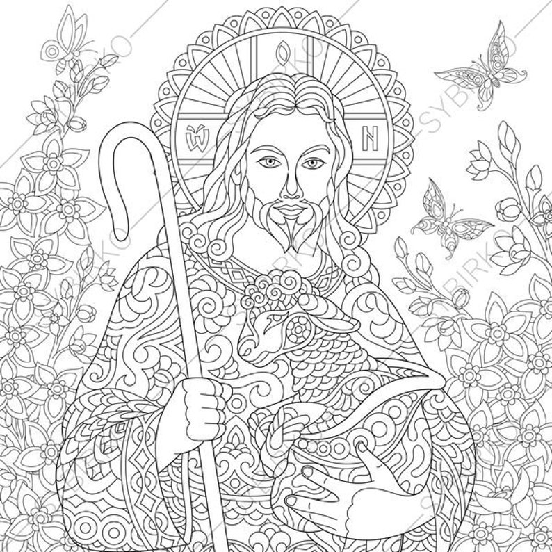 Jesus Christ with a Lamb. 2 Easter Coloring Pages. Religious | Etsy