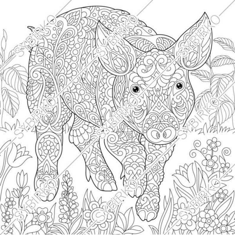 Coloring pages. Pig. Piggy. Piglet. Animal coloring book for | Etsy