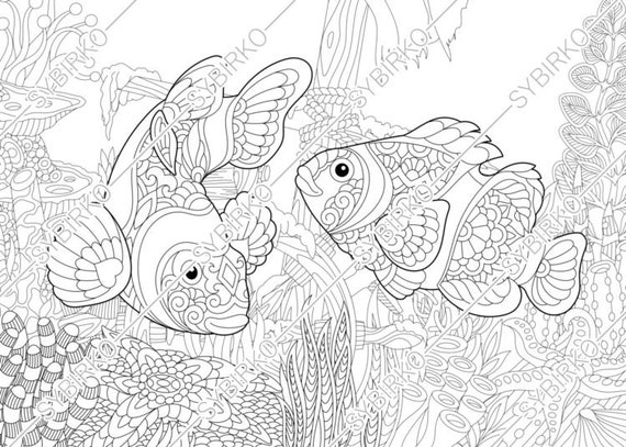 Coloring Pages For Adults Clown Fishes Adult Coloring Pages Etsy