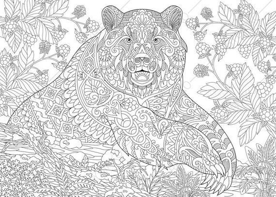 Grizzly Bear Coloring Pages Animal Coloring Book Pages For Etsy
