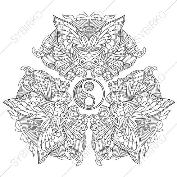 Coloring Pages For Adults Yin Yang Mandala Butterfly Mask Adult Colouring Pages Coloring Book Instant Download Printable Pdf Jpg Files