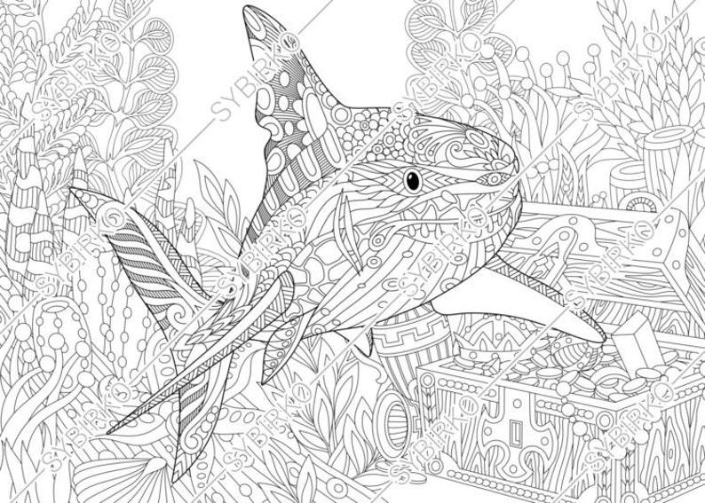 Coloring pages for adults. Shark. Adult coloring pages ...