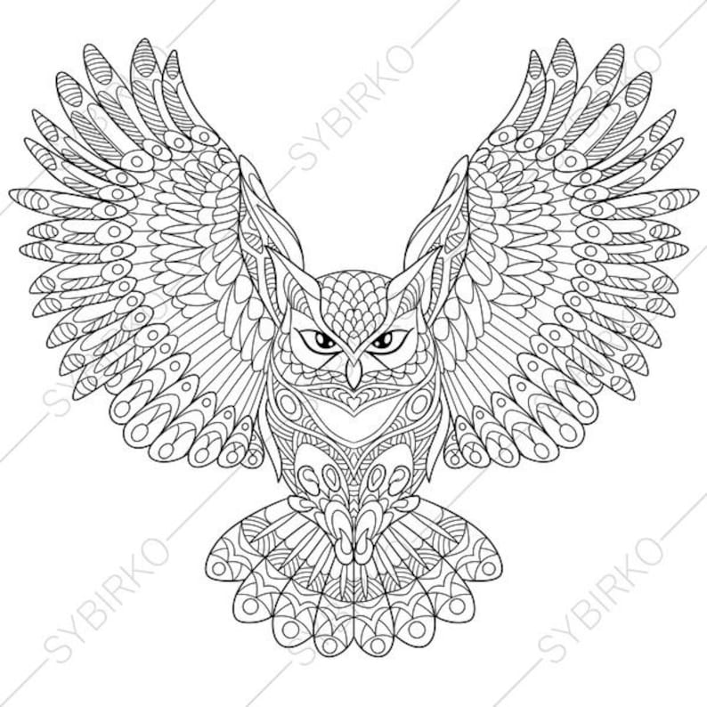 Owl Coloring Page Animal Coloring Book Pages For Adults Etsy