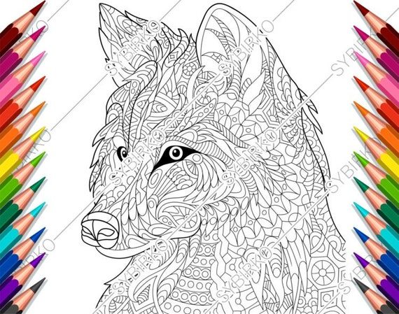 Winged fox coloring page Realistic coloring pages of wolves at ... | 449x570