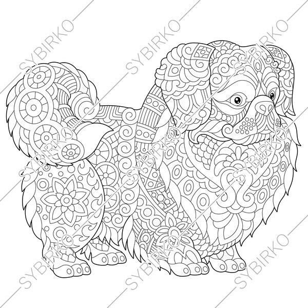 Coloring Pages For Adults Pekingese Japanese Chin Dog