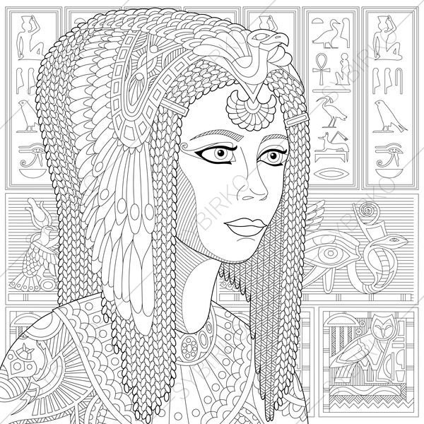 Egyptian Queen Cleopatra. 2 Coloring Pages. Coloring book ...