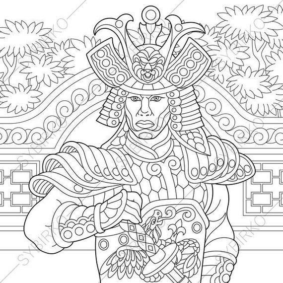 Japanese Samurai Warrior Coloring Pages Book For Kids And Adults Instant Download Print