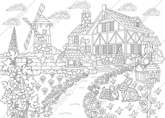 Rural Farm house. Coloring Pages. Coloring book pages for Kids | Etsy