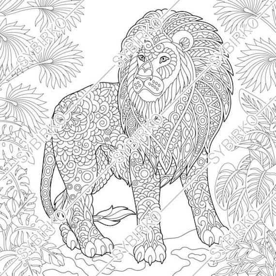 Coloring pages. Lion. Wild Jungle Cat. Animal coloring book for adult.  Instant Download. pdf jpg files. Printable coloring pages for adults.