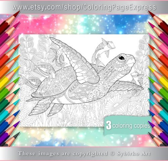 Coloring Pages For Adults Digital Coloring Pages Sea Ocean Etsy