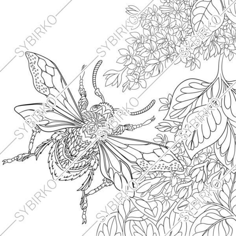 Coloring pages for adults  Beetle  Bug  Honey bee  Bumble bee  Adult  coloring pages  Digital jpg-pdf coloring page  Instant download print