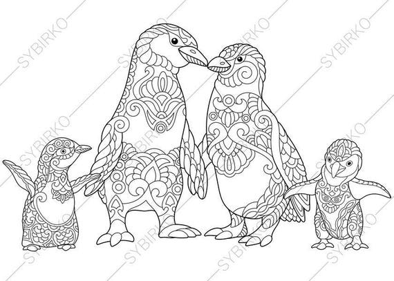 coloring pages penguins in love | Emperor Penguins in Love. 3 Coloring Pages for Family day