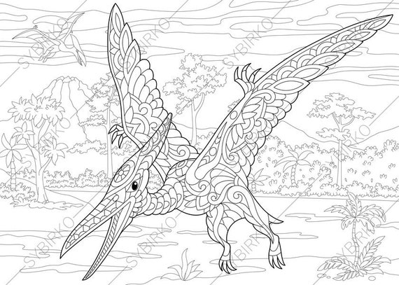Pterodactyl Dinosaur. Pterosaur. Dino Coloring Pages. Animal coloring book pages for Adults. Instant Download Print