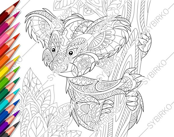 Coloring Pages For Adults Koala Bear Adult Coloring Pages Etsy