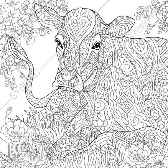 Coloring Pages for adults. Milky Cow. Colouring pages. Adult coloring book. Animal coloring book. Instant Download. Printable pdf jpg files.