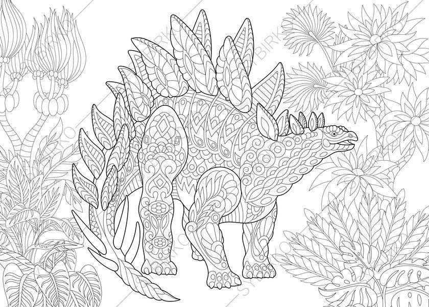 stegosaurus dinosaur dino coloring pages animal coloring etsy. Black Bedroom Furniture Sets. Home Design Ideas