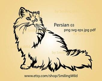 Persian cat svg clipart White Print on Black Persian cat silhouette vector graphic art artwork digital design cat for logo cut file cricut