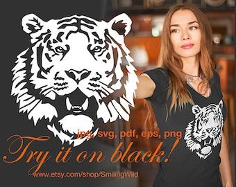 Tiger svg portrait white print on black tiger head wild animal clipart cut file cuttable cricut vector graphic art artwork
