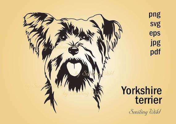Yorkie Art Svg Yorkshire Terrier Peeking Dog Portrait Design Etsy