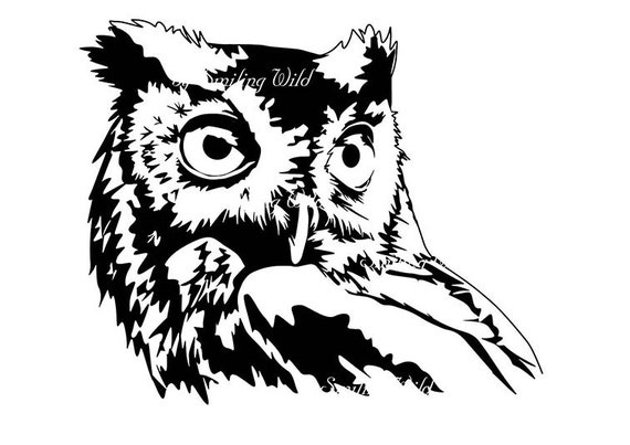 Screech Owl Art Design Clipart Svg Silhouette Owl Drawing