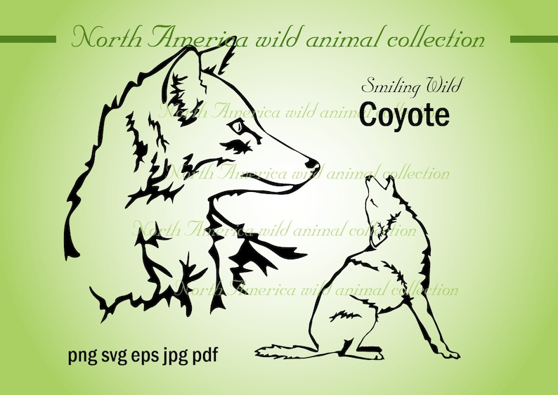 coyote svg vector graphic art wild animal clipart coyote printable cut file cuttable artwork eps png animal digital download