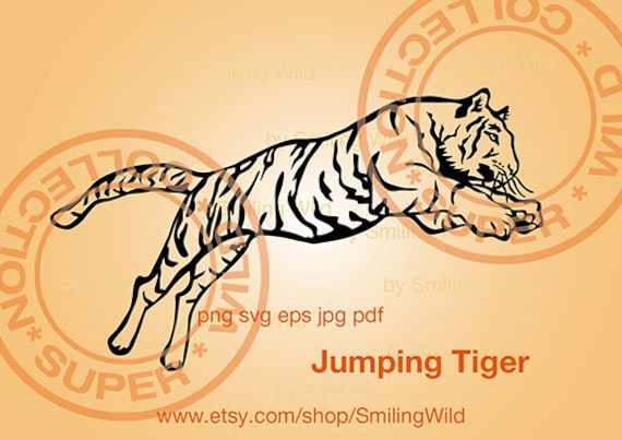 Jumping Tiger Svg Clipart Cut File Cuttable Tiger Wild Animal Etsy