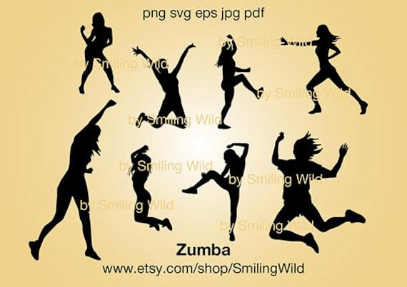 Zumba Dance Svg Cut File Silhouette Jumping Dancing Woman Etsy