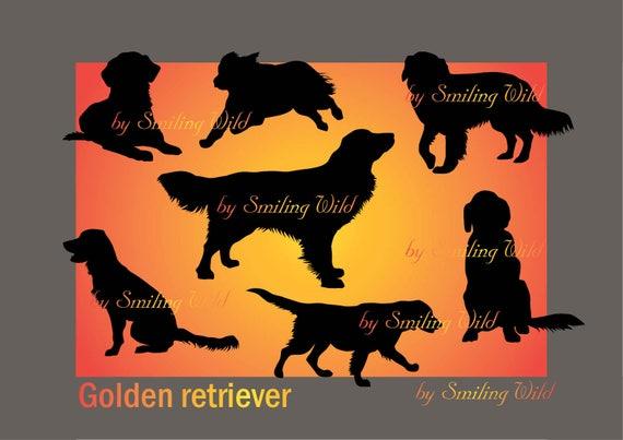 Golden Retriever Svg Silhouette Clipart Dog Cut File Printable Etsy