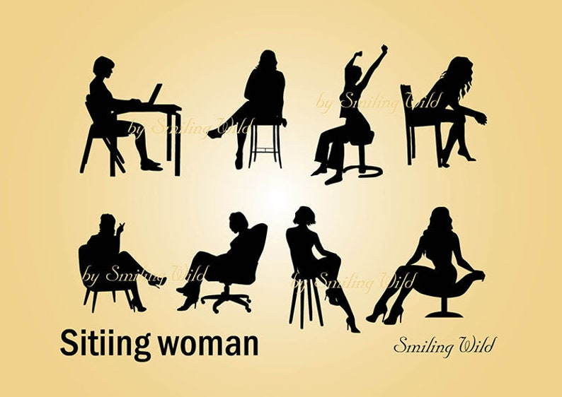 sitting woman svg silhouette clipart printable woman computer cut file vector graphic art bar chair woman instant download sitting woman png
