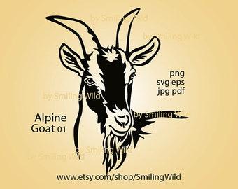 Alpine Goat /01/ svg clipart vector graphic art file Alpine Farm animal cuttable cricut digital design logo cut file