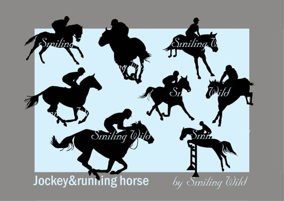Jockey Running Horse Silhouette Svg Clipart Png Vector