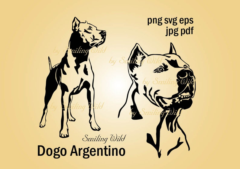 Dogo Argentino svg clipart vector graphic art Dogo Argentino artwork instant download cutout cuttable dog lovers printable gift