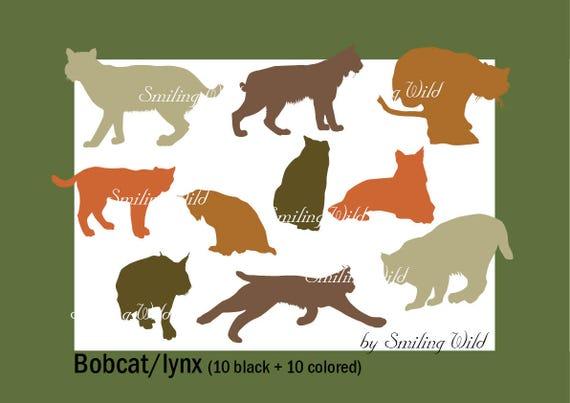 bobcat lynx art svg silhouette clipart wildlife vector graphic etsy