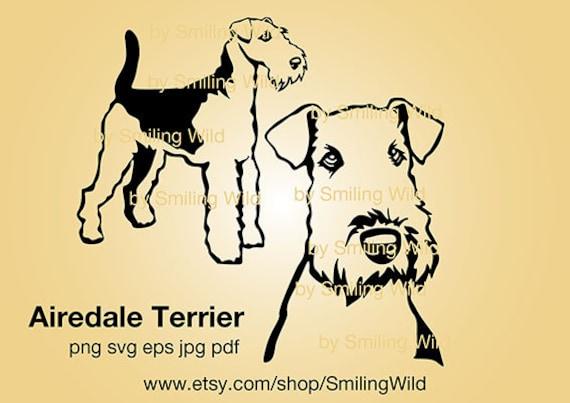 Cricut memorial dog digital portrait breed animal png Clipart Airedale terrier svg Pet dog vector dog SVG download dxf dog face