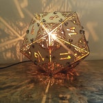 D20 Dungeons and Dragons Dice - Desk Lamp, Geometric Lighting, Wood Lamp, Shadow Lamp