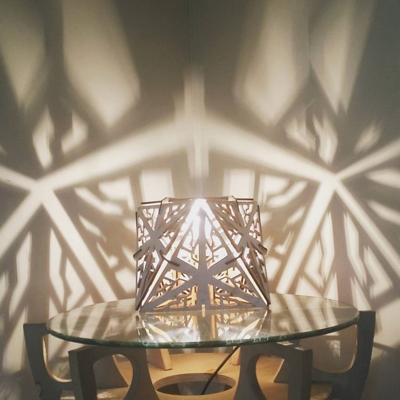 Octahedron  Shadow Lamp  Desk Geometric Lighting Wood Lamp image 0